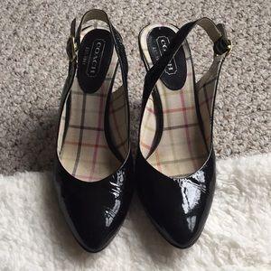 Coach Adie Black patent leather sling back heel